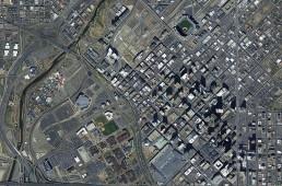 Downtown, Denver Colorado, aerial view, stadium, city, capital, horizontal, downtown denver